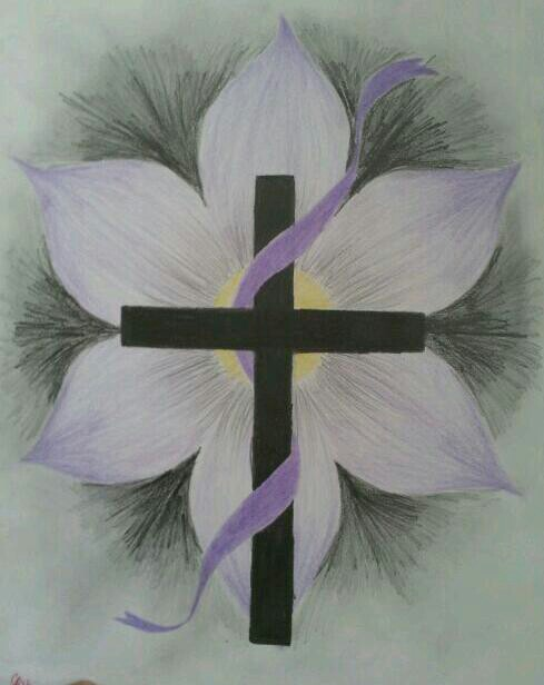 489x616 Flower Cross Drawing Drawing Draw, Drawing Ideas