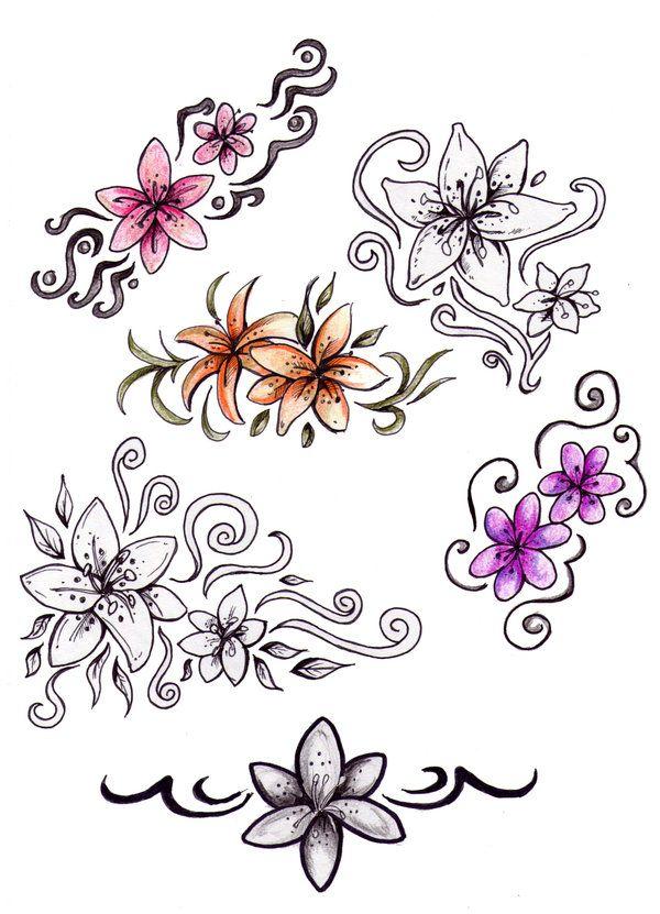 600x831 Flower Drawings Flower Tattoo Designs By ~niuniente