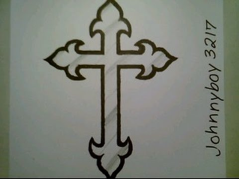 480x360 How To Draw A Cross Step By Step Crucifix Tattoo For Beginners