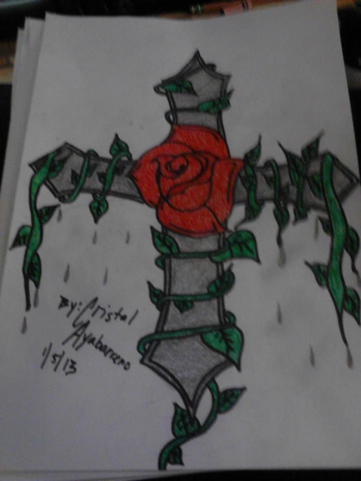 720x960 11th Drawing (Cross With A Rose And Vines) My Personal Drawings