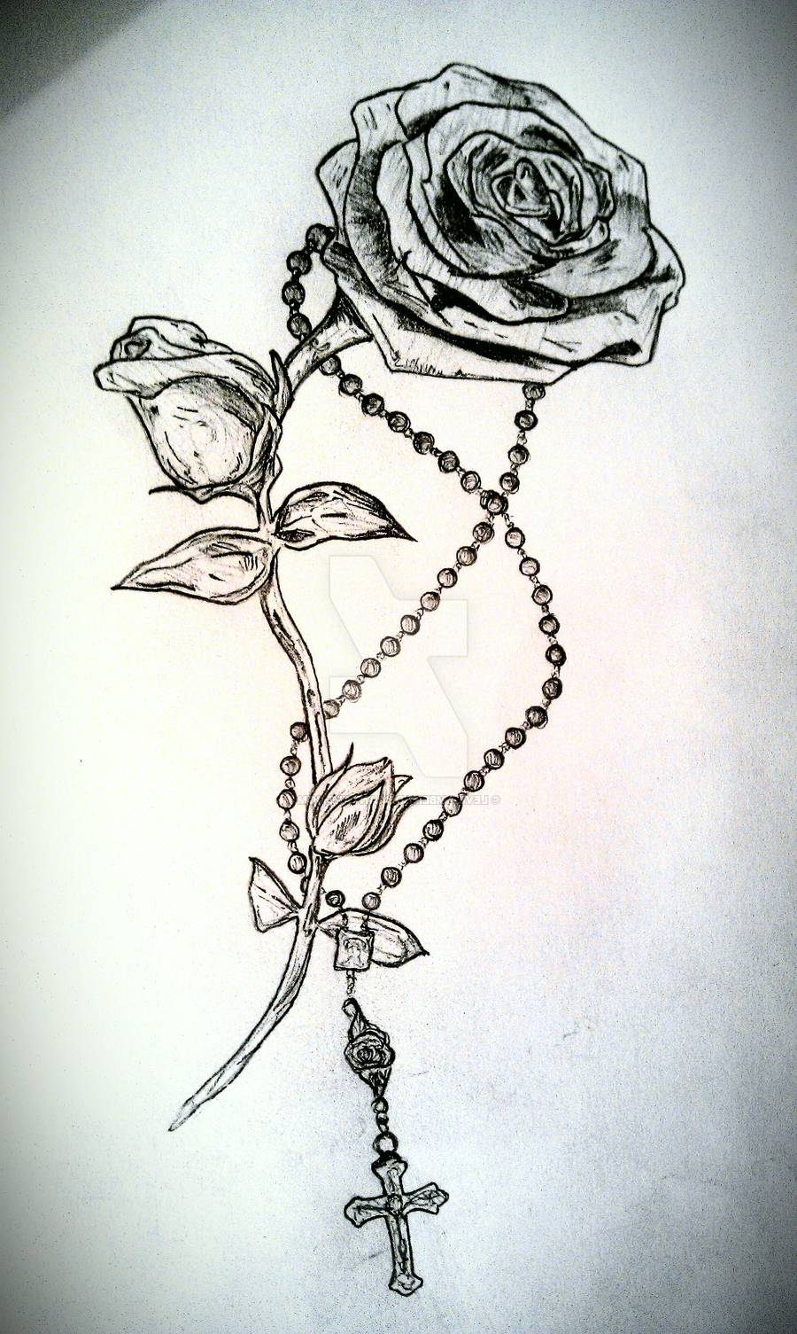 900x1505 Cross With Flowers Tattoo Black And Grey Rose With Rosary Cross