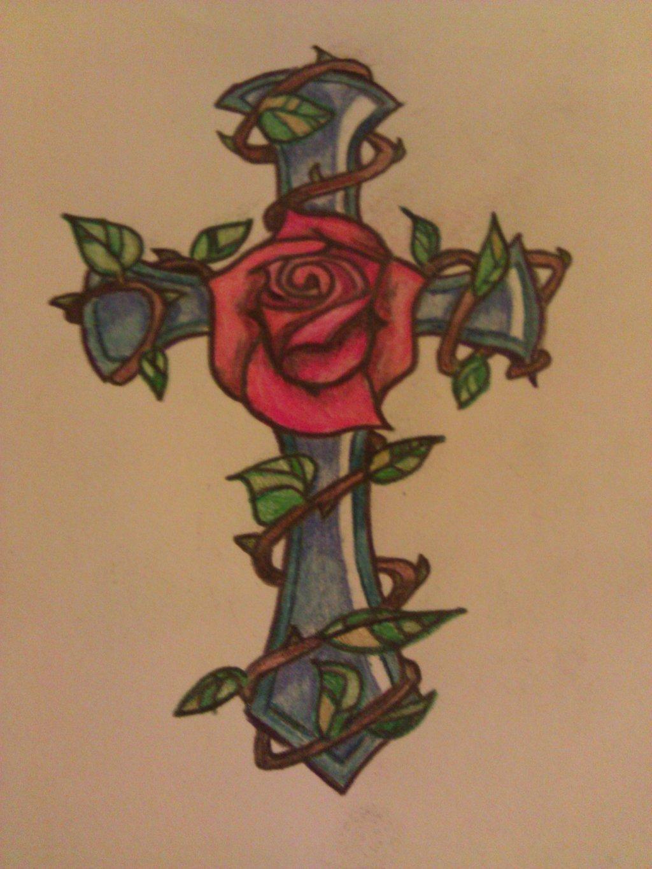 1024x1365 Cross And Rose Tattoo By Rockabillychicadee