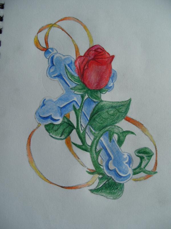 600x800 Cross And Rose Tattoo By Emmajadexx