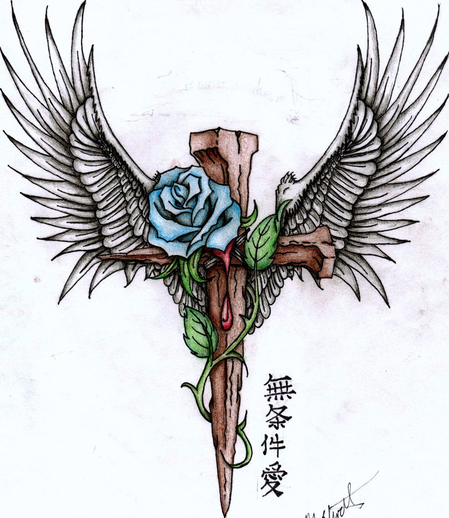 900x1039 Cross And Rose V.2 By Mariechele11