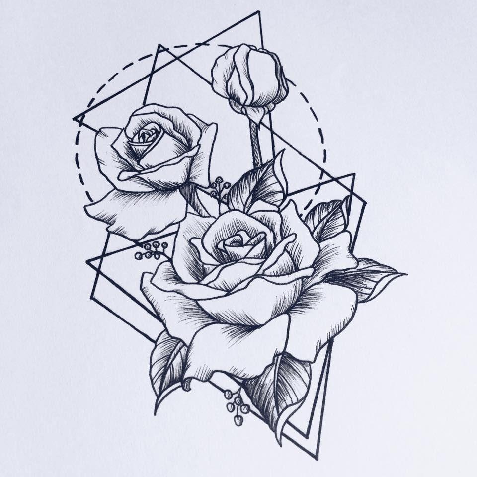 960x960 Rose Drawing Tattoo