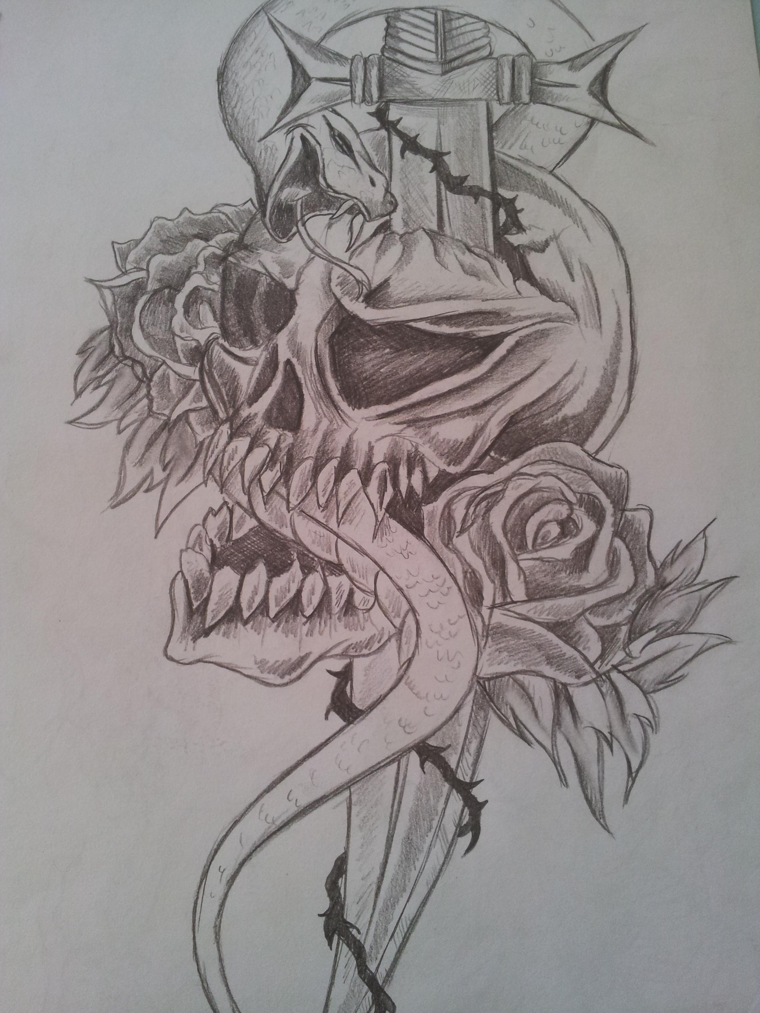 2448x3264 Tribal Tattoo Rose Skull Drawing. Rough Sketch By Cassandrawilson