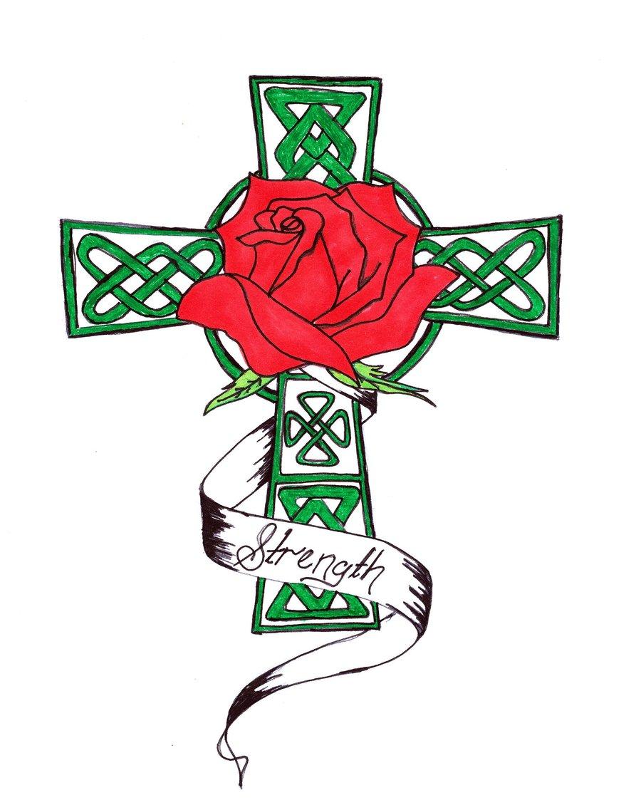 900x1130 Strength Celtic Cross And Rose By Stuart Littlejohn