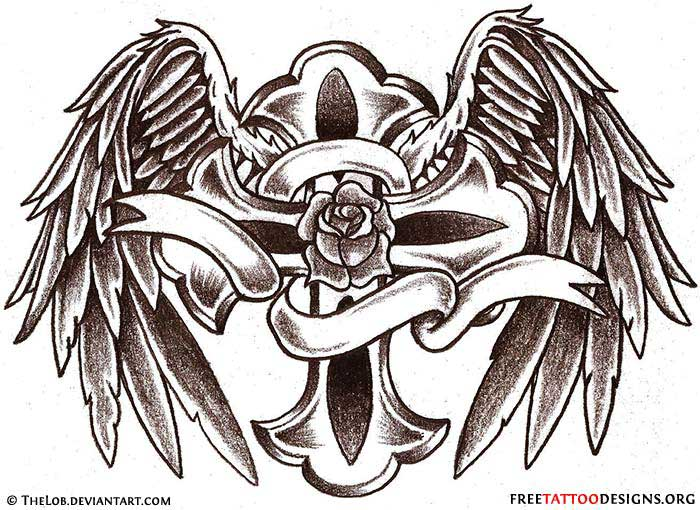 700x510 Angel Wings Tattoo Gallery 50 Cross Tattoos Tattoo Designs