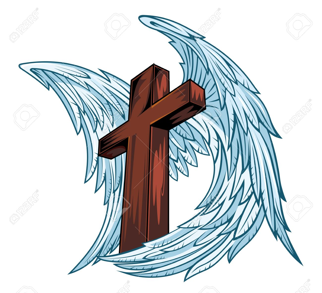 1300x1183 Angel Wings With Wooden Cross. Vector Illustration Royalty Free