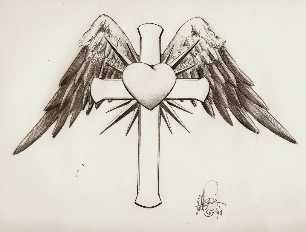 1024x778 Cross With Wings And Heart By Disdick
