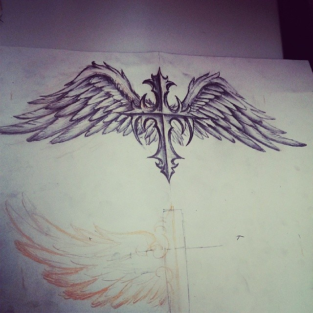 640x640 Cross With Wings Sketch, Custom Design For Tomorrow