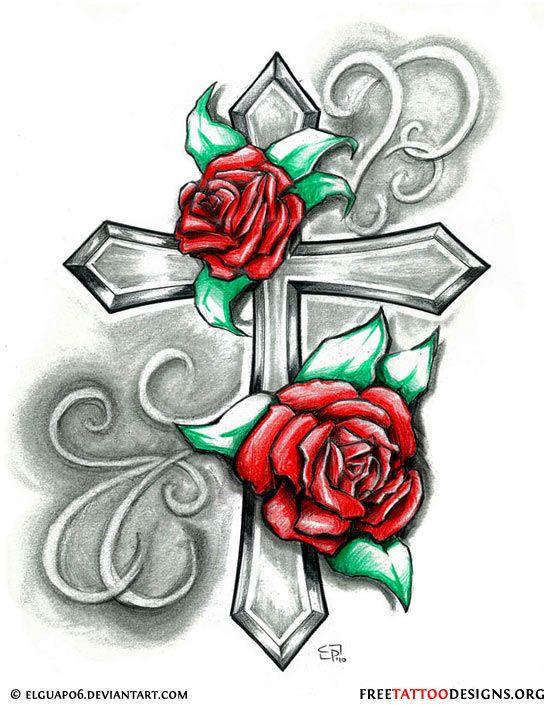 550x705 Tattoo Tattoo Ideas, Cross Tattoo Designs, Roses, Tattoo'S