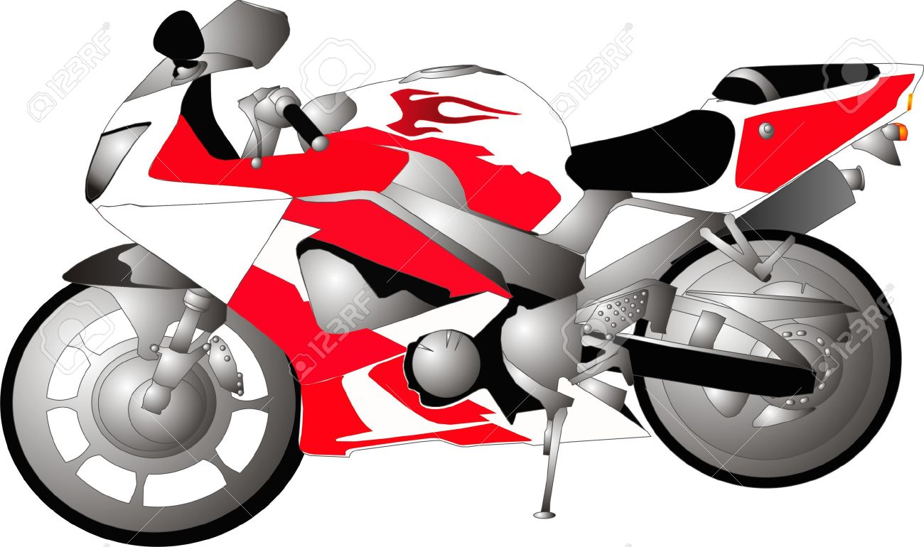 1300x770 1000cc Motorcycle Crotch Rocket Bike, In Red, White And Black