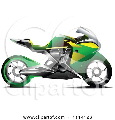 450x470 Clipart Green And Yellow Crotch Rocket Motorcycle