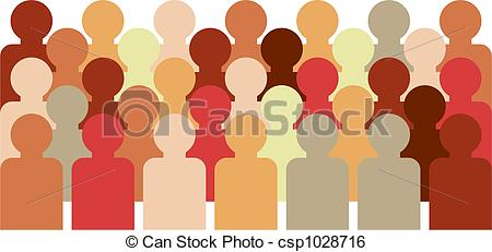 450x231 Crowd Of Faceless People With Different Skin Tones Stock