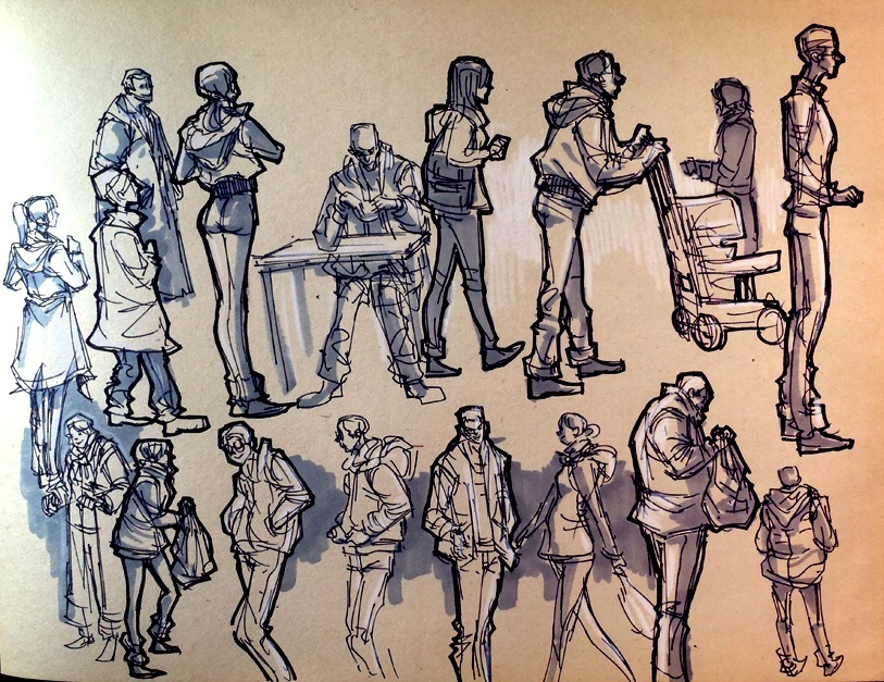 813x627 Drawing A Crowd Scene In Simple Steps