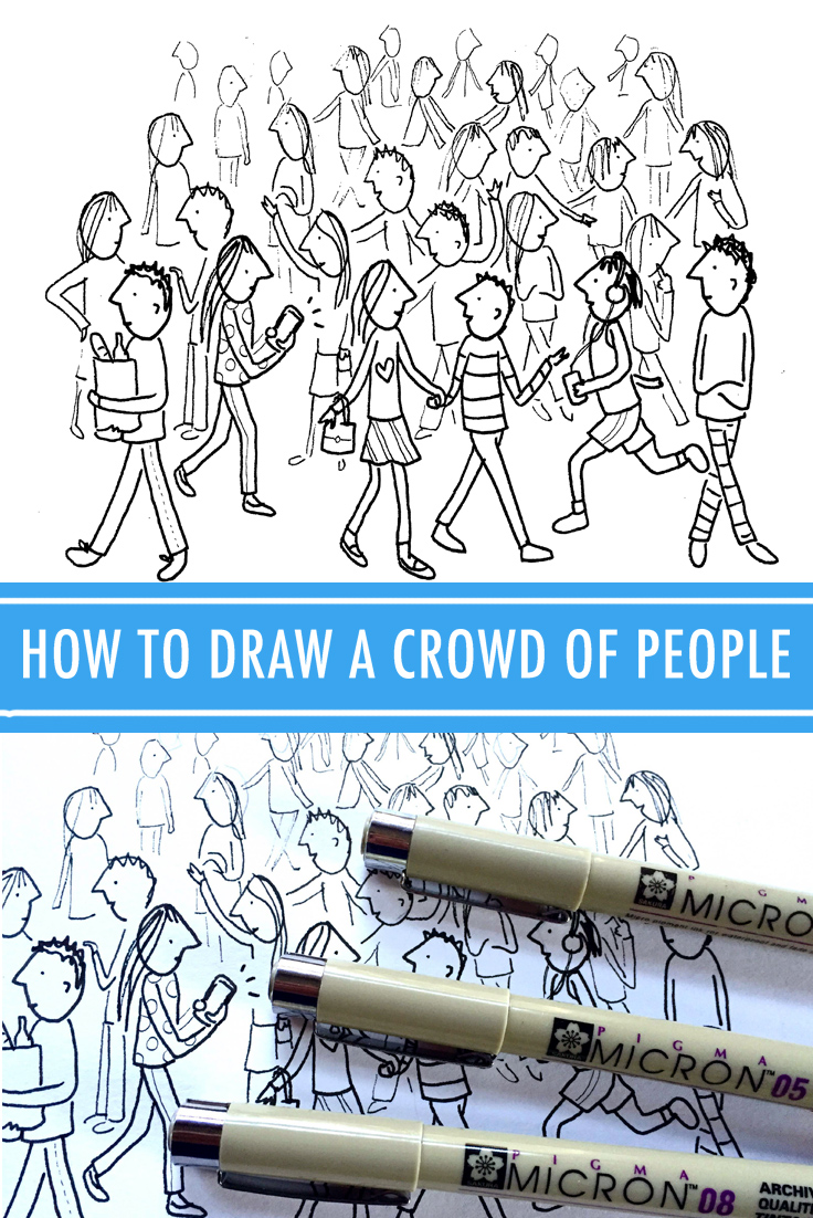 736x1102 How To Draw A Crowd Of People In 3 Steps