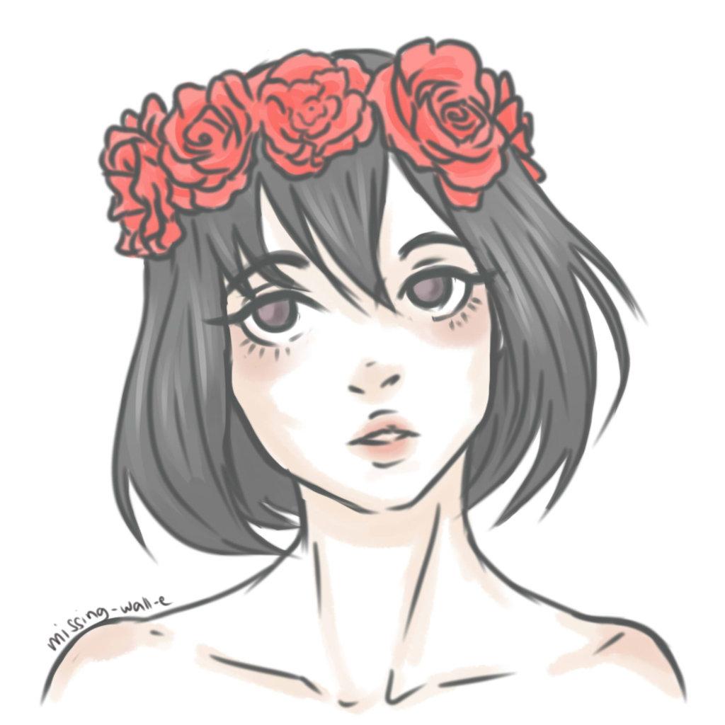 1024x1024 Flower Crown Drawing