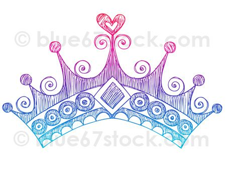 450x338 Hand Drawn Sketchy Princess Tiara Crown Doodle Drawing Vector