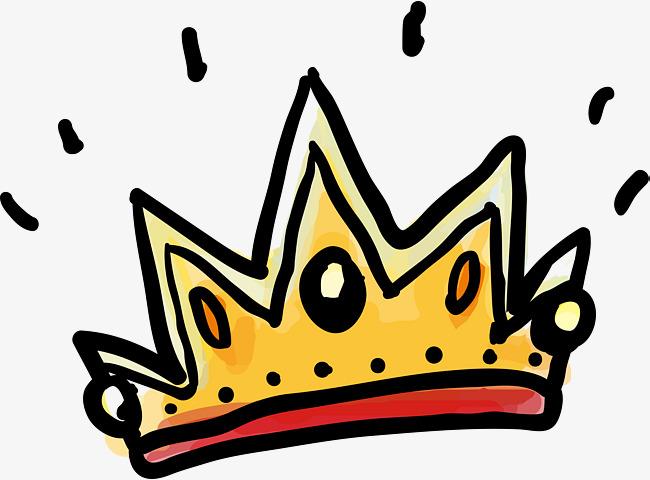 650x480 Lovely Cartoon Hand Painted Crown, Cartoon Hand Drawing, Golden