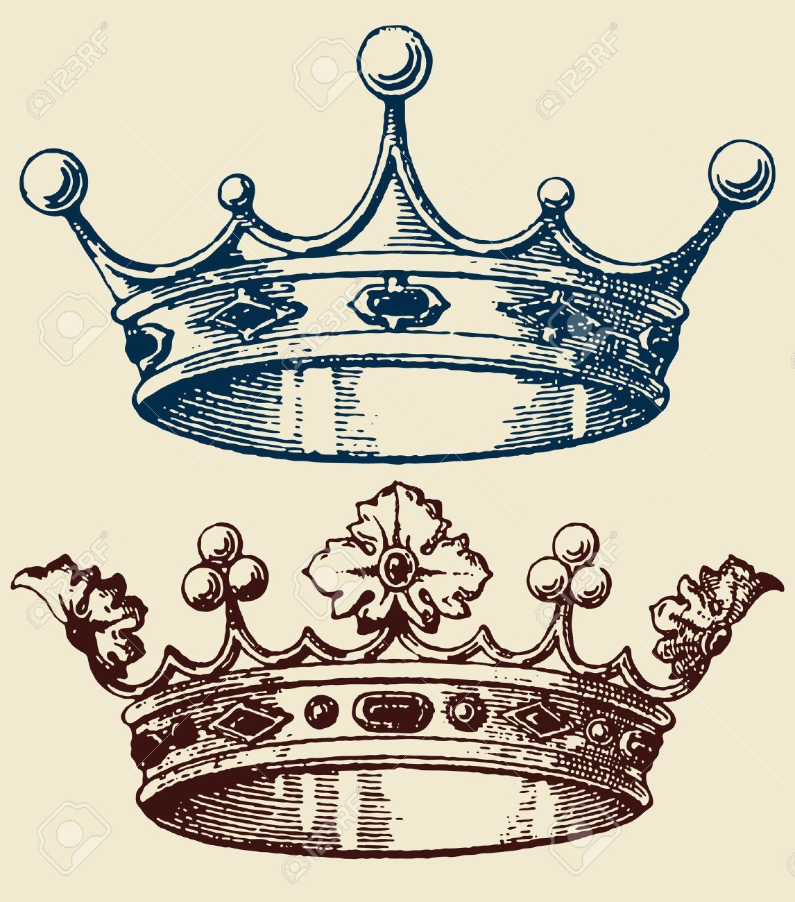 1146x1300 Old Crown Set Royalty Free Cliparts, Vectors, And Stock