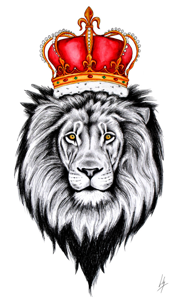 600x1027 Lion With Crown Drawing