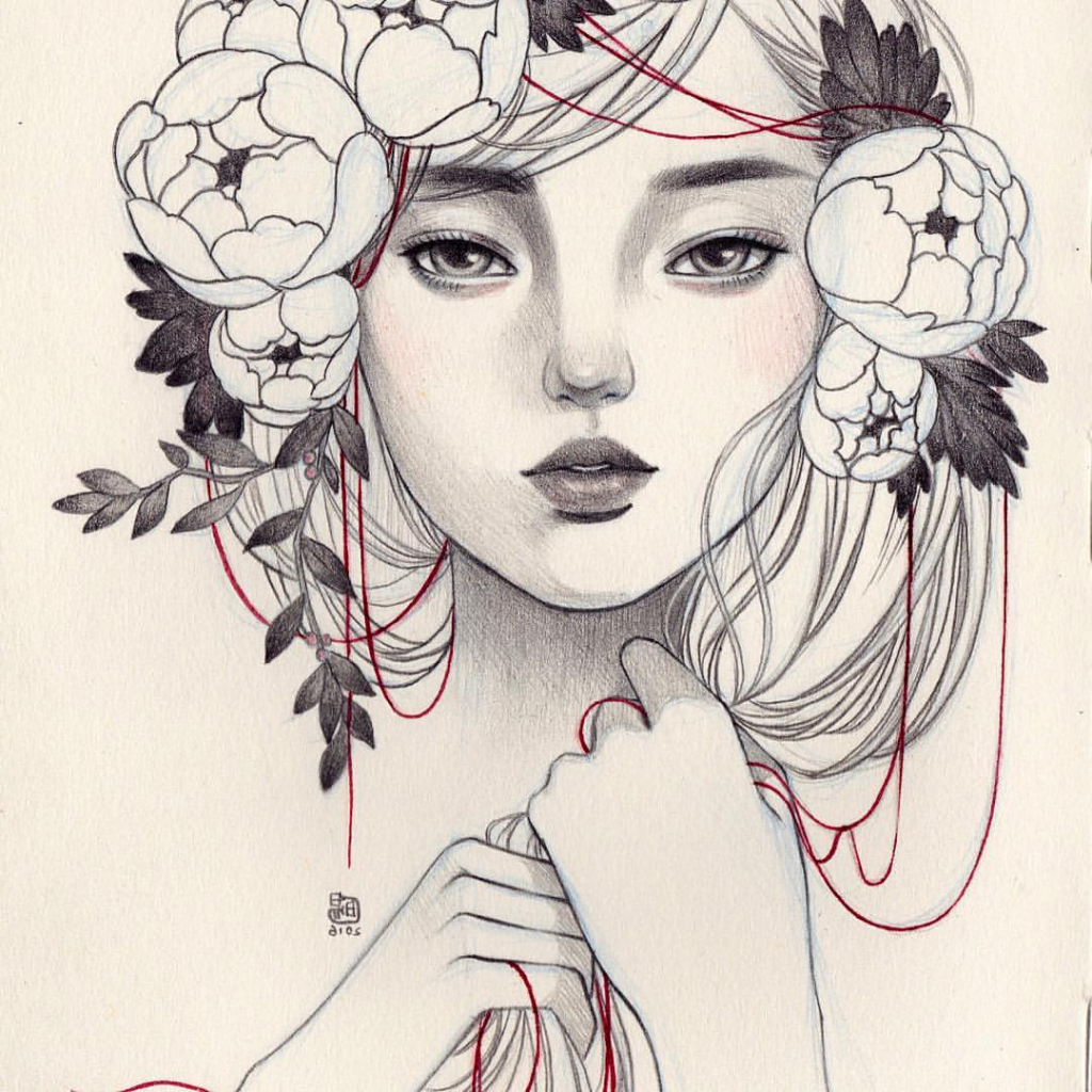 1024x1024 Flower Crown Drawing Tumblr Girl Drawing Flower Crown Flower Crown