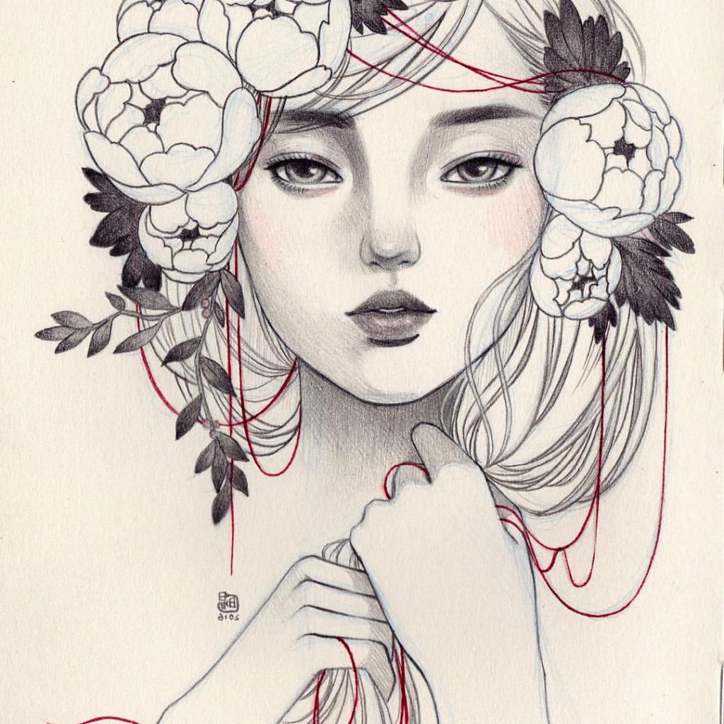 1024x1024 Flower Crown Drawing Tumblr Girl Drawing Flower Crown Flower Crown