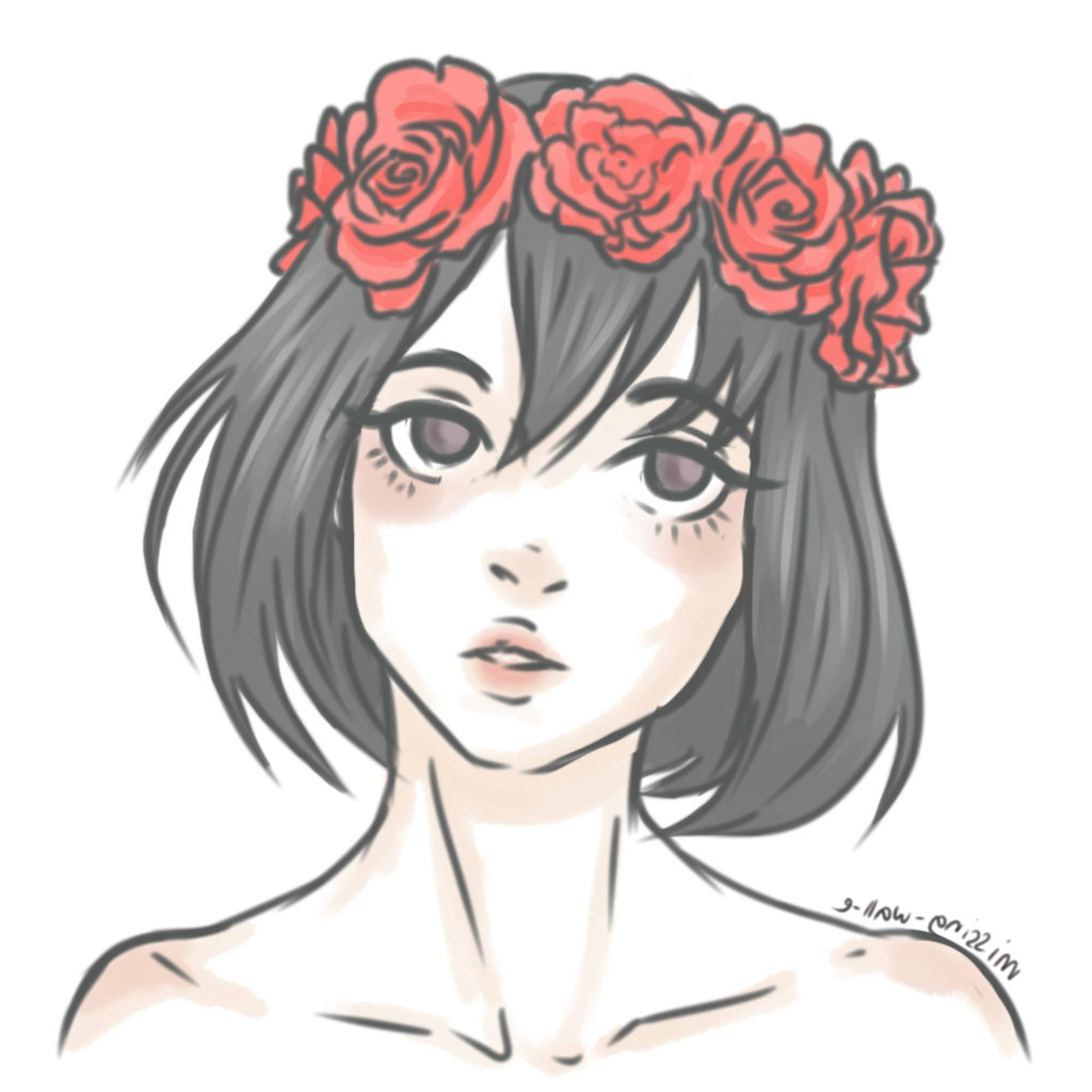 1024x1024 Tumblr With Flower Crown Drawings