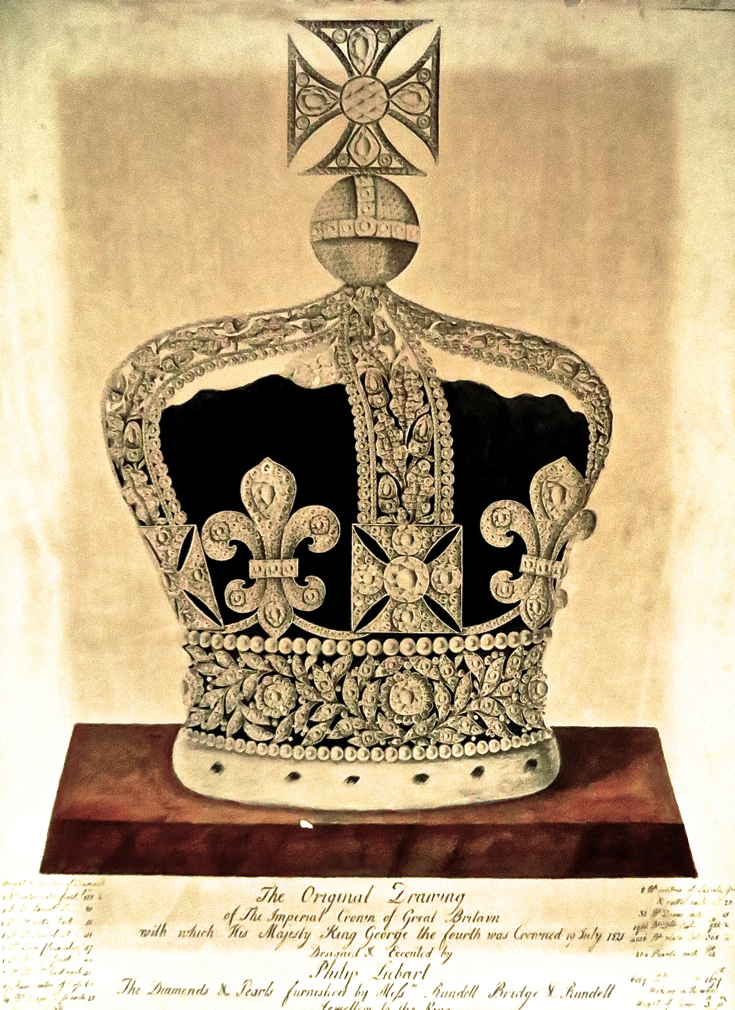 735x1010 Philip Liebrat's Drawing Of George Iv's Crown, 1821. It Was