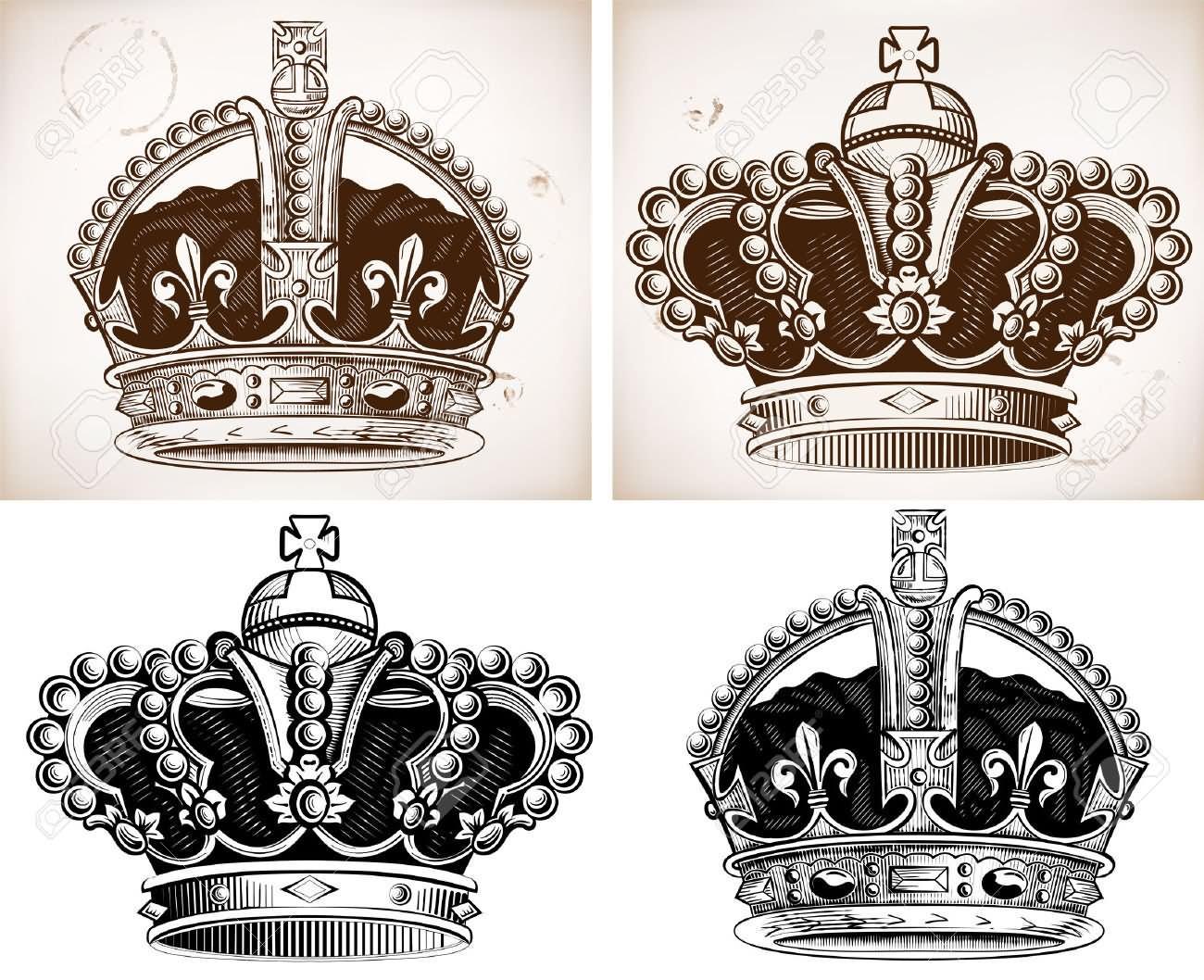 1300x1058 King Crown Tattoos Designs