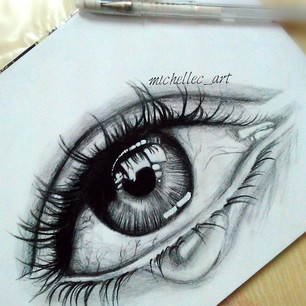 306x306 Realistic Crying Eyes Drawing ( Quick Drawing ) By Michellecart
