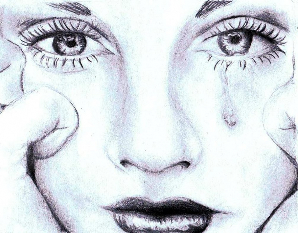 1024x801 Sad Crying Girl Face Sketch Sad Face Of Girl Sketch Girl Crying
