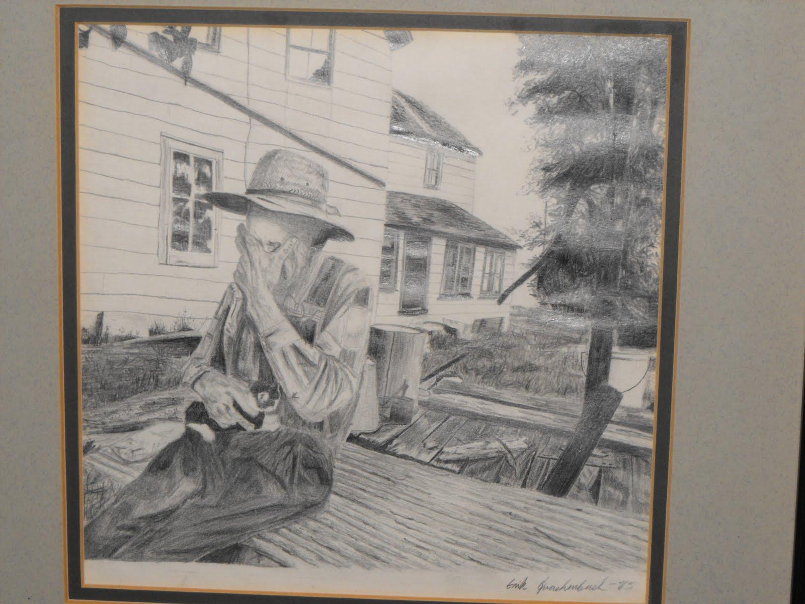 1600x1200 Erik Quackenbush 1985 Drawing Old Man Crying