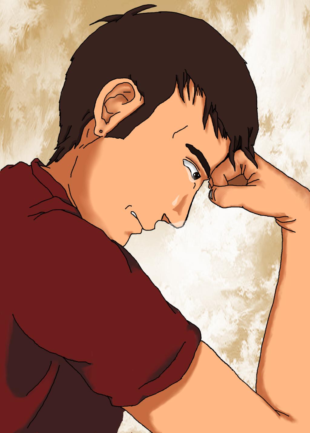 1024x1430 Manga Man Crying By Ba96