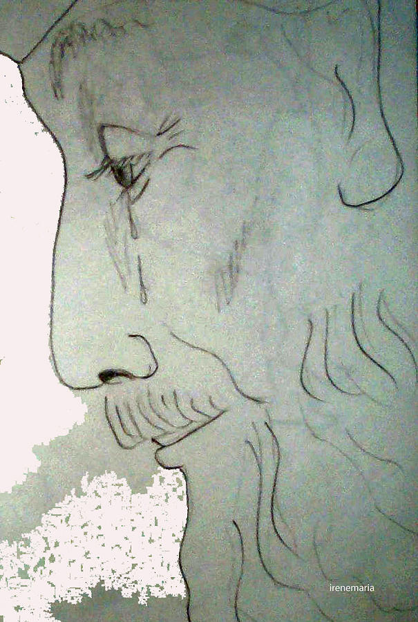 605x900 Old Man Crying Drawing By Irenemaria