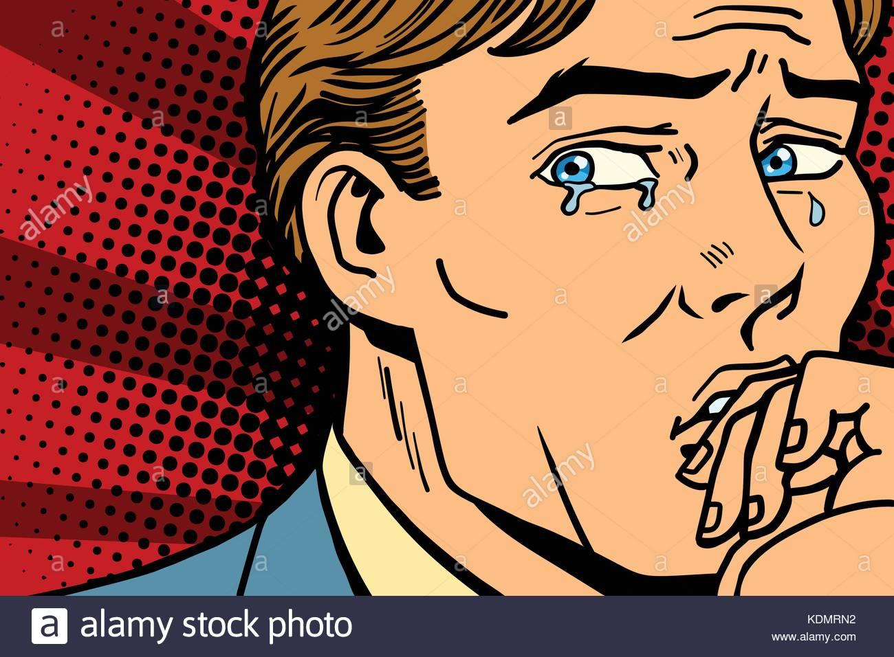 1300x956 Pop Art Man Crying In Depression. Comic Book Cartoon Retro Stock