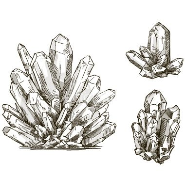 380x400 Set Of Crystals Drawings Vector By Kamenuka On Vectorstock