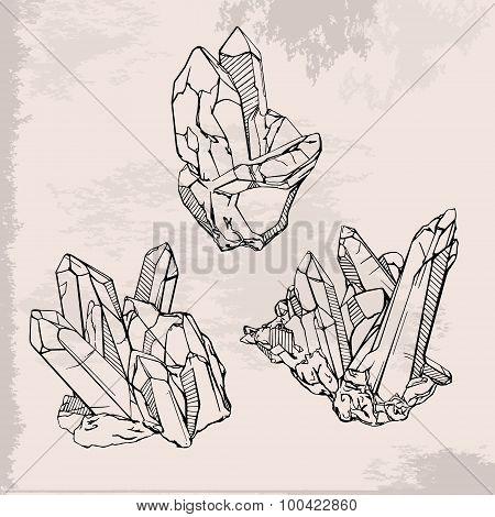 450x470 Stock Photo Of Hand Drawing Crystals Set. Crystal Gems Sketch