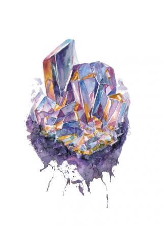 320x450 Crystal. Watercolor Crystal Drawing. Stock Photo Dobrynina Art
