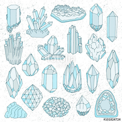 500x500 Vector Hand drawn line crystal, mineral, gem playing cards