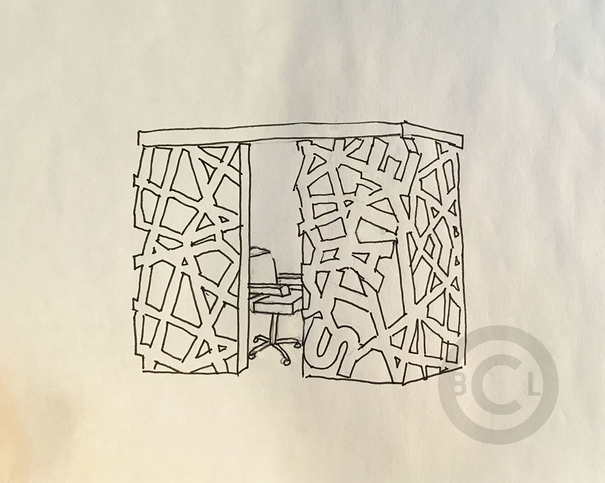 1200x957 A Sketch Of Kiosk Cubicle For A Bank Client. Drawing By Brad C