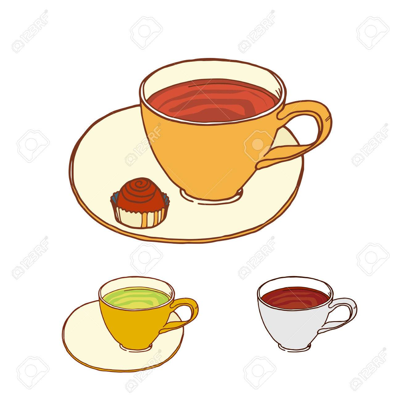 1300x1300 Coffee And Tea Cup With Candy At Saucer Vector Sketch. Color