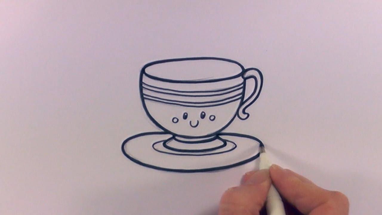 1280x720 How To Draw A Cartoon Tea Cup And Saucer