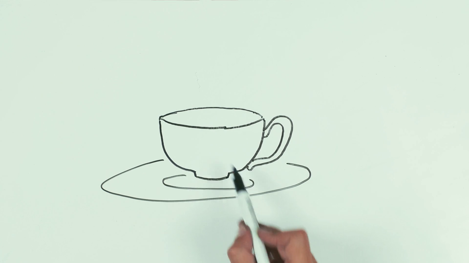 1920x1080 Man Caucasian Right Hand Speed Draw Steaming Tea Cup On Saucer