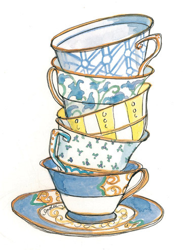 363x492 57 Tea Cup Sketch, Sketch Of A Cup Of Tea Stock Images Image