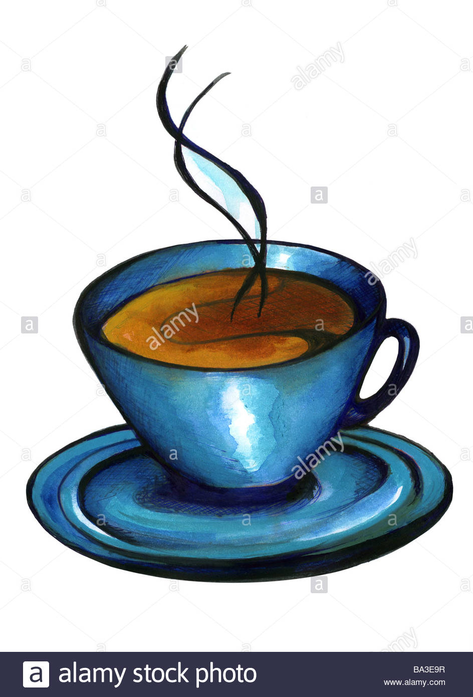 944x1390 Illustration Cup Coffee Steams Graphics Drawing Watercolor