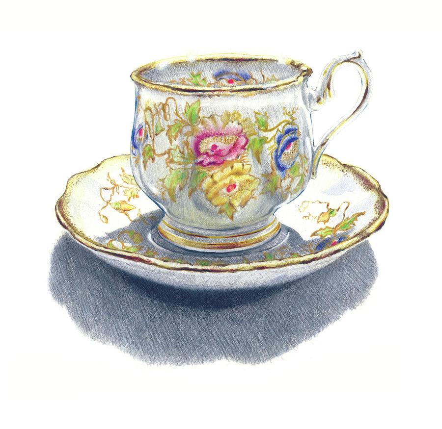 900x875 Tea Cup Drawing By Ken Hank