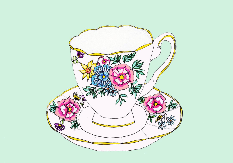 1500x1050 Vintage Tea Cups Drawing Drawings