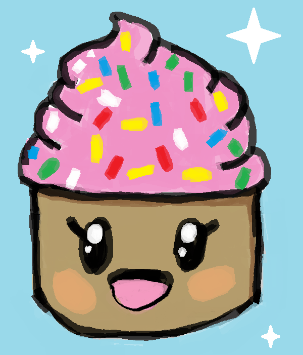 600x701 Cartoon Cupcake Drawing By Riverdacat